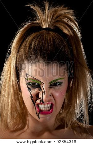 Girl With Lightning Makeup Making Scary Scowl