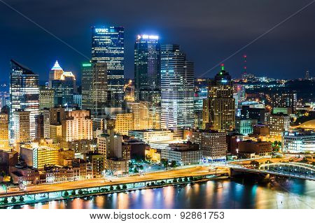 View Of Pittsburgh At Night From Grandview Avenue In Mount Washington, Pittsburgh, Pennsylvania.