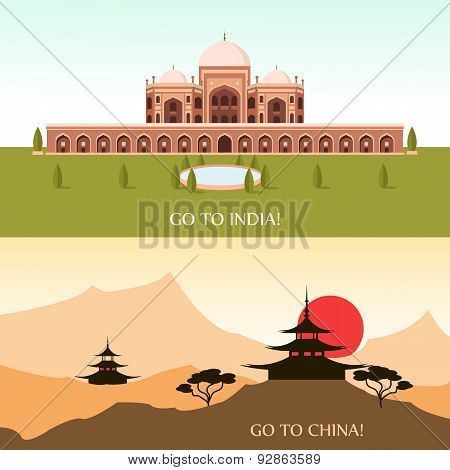 Tourism for China and India, vector illustration for your design, eps 10 poster