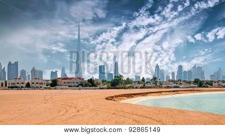 Beautiful beach and sea with Burj Khalifa