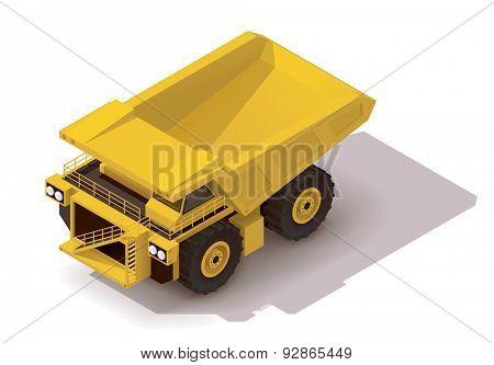 Isometric icon representing heavy yellow mine dumper truck poster