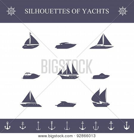 Ship sailing yachts and cruise boats silhouette icons set