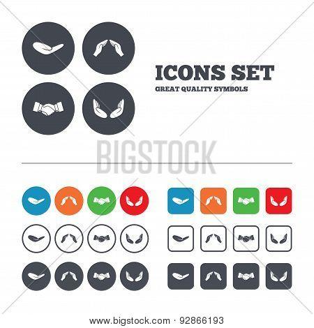 Hand icons. Handshake and insurance symbols.