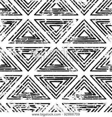 Hand Drawn Vector Line Triangle Ornament Grunge Seamless Pattern. Abstract Black And White Geometric