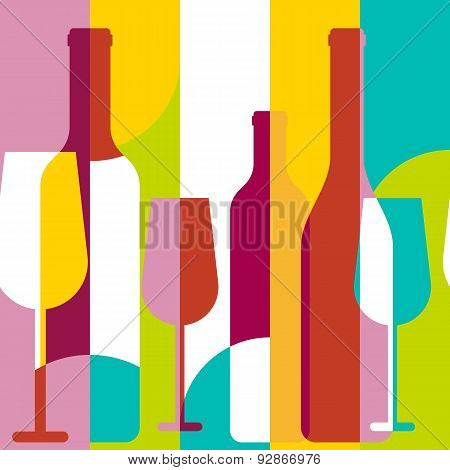 Vector Seamless Background, Wine Bottle And Glass Silhouette. Abstract Flat Color Blocking Geometric
