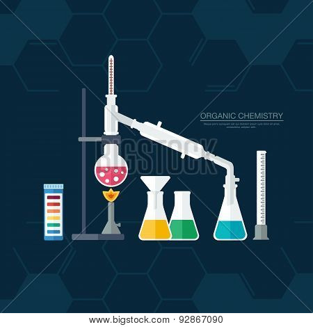 Organic Chemistry. Synthesis Of Substances. Border Of Benzene Rings. Flat Design. Vector
