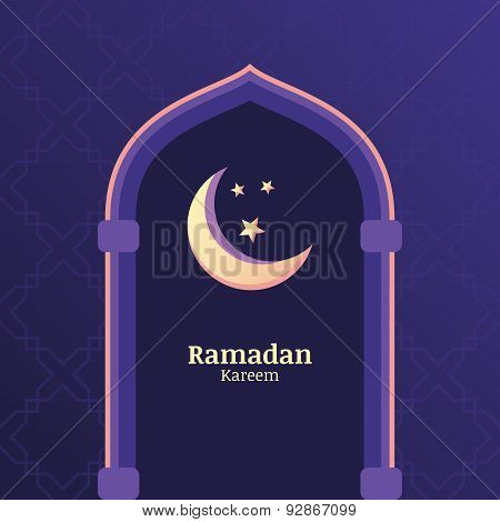 Ramadan Kareem Vector Background With Night Sky, Moon, Stars In The Window. Greeting Card Template W