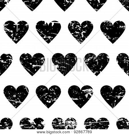 Hand Drawn Vector Seamless Pattern With Black Hearts Isolated On White Background. Abstract Grunge T