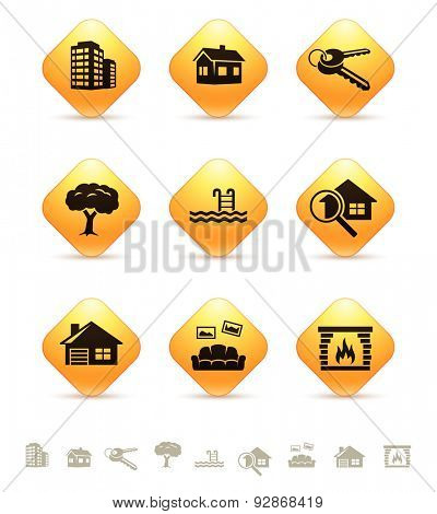 Real estate icons on yellow rhombic buttons