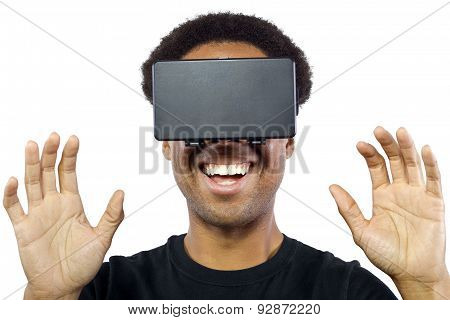 Black male wearing a virtual reality headset on a white background poster