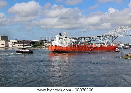Oil Tanker Ship Going Into Corpus Christi Texas