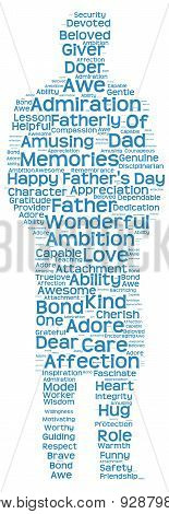 Tag cloud of father's day in the shape of a fatherly figure