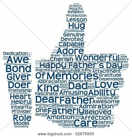 Tag cloud of father's day in the shape of facebook like
