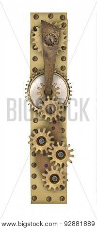 Steampunk mechanical metal alphabet letter I. Photo compilation