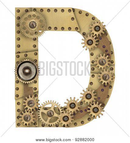Steampunk mechanical metal alphabet letter D. Photo compilation