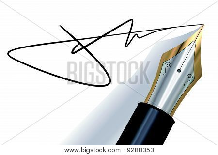 Signing with a fountain pen