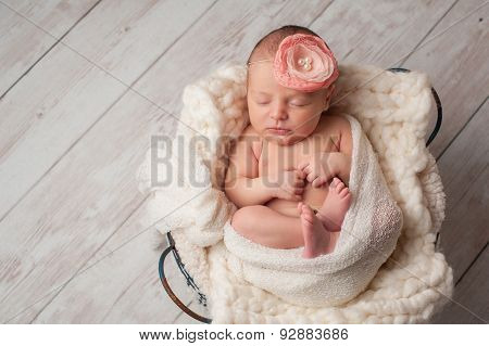 Newborn Baby Girl Wearing A Flower Headband