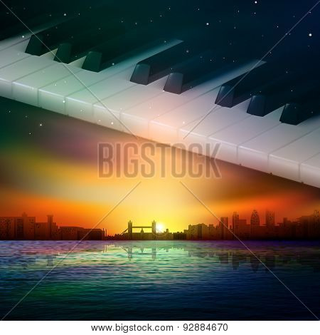 Abstract Night Background With City And Piano Keys