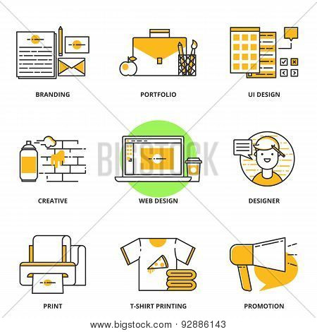 Branding, Corporate Identity And Design Vector Icons Set