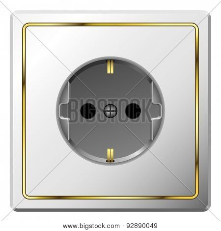 White electric wall outlet with gilded frame isolated on white background.