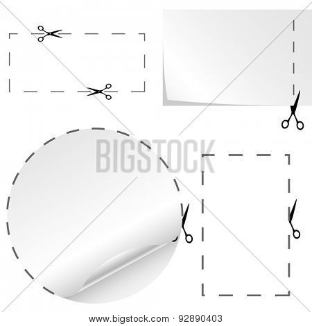 Set of cutoff paper coupons with scissors sign.