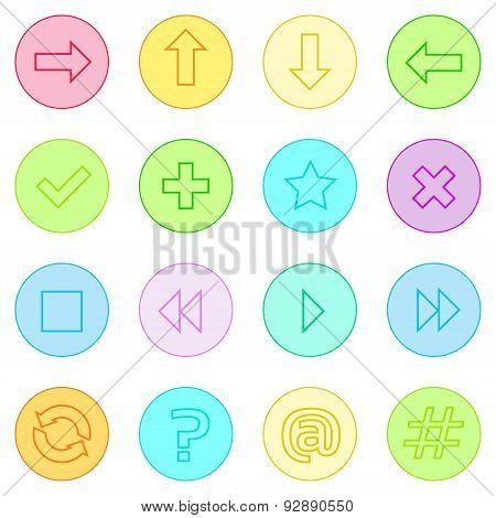 Navigation Arrow Contol Thin Line Simple Icons Set Colorful