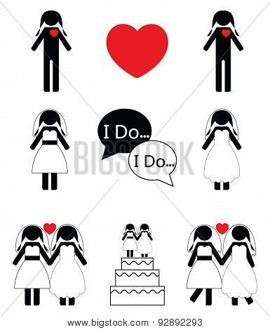 Gay woman wedding icons set