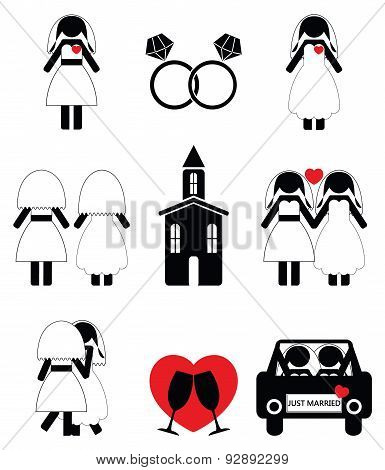 Gay woman wedding 2 icons set