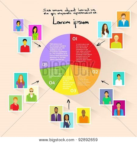 Circle Pie Diagram People Social Media Marketing Target Group
