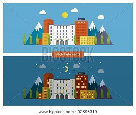 Flat design modern vector illustration icons set of urban landscape and city life