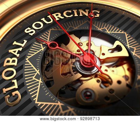 Global Sourcing on Black-Golden Watch Face.
