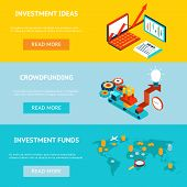 Business investment banners. Crowdfunding, investment ideas and investment funds. Concept strategy, marketing and funding, investor financial, vector illustration poster