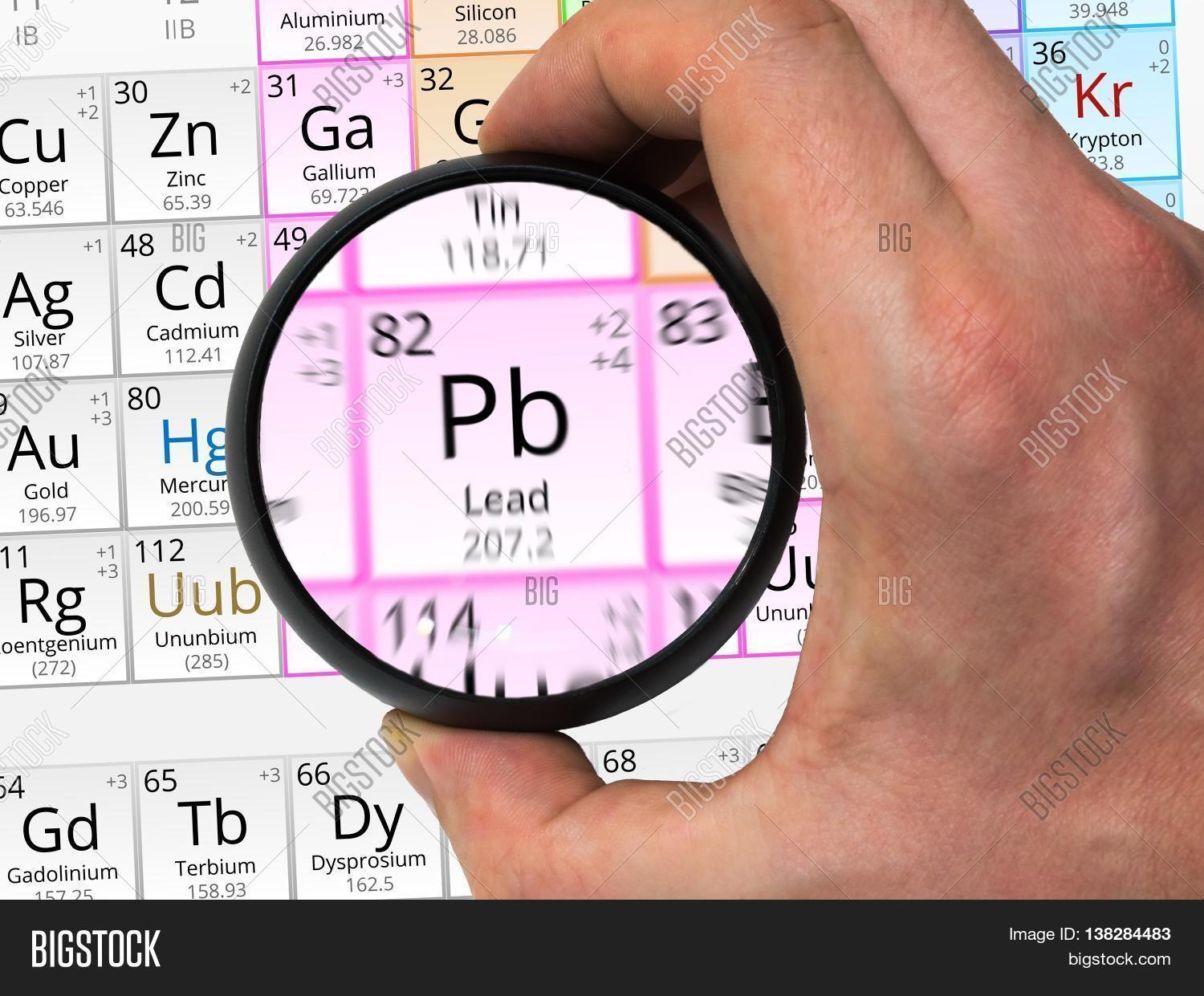 lead symbol pb element of the periodic table zoomed with magn - Periodic Table Symbol Pb