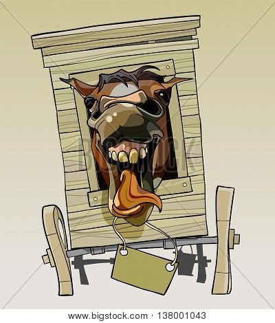 cartoon neighing horse sitting in a wooden cart
