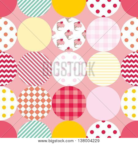 Tile patchwork vector pattern with polka dots on pastel pink background