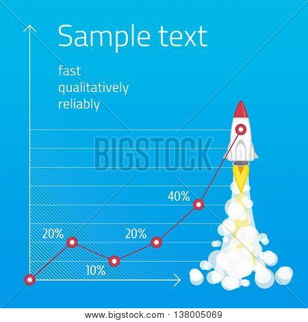 Illustration with spaceship against the background of the chart. Rocket launch startup minimalist business concept vector presentation template. Template infographic promotion of business startup.