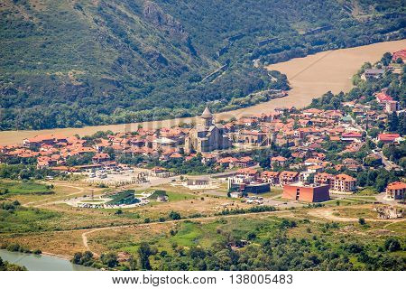Svetitskhoveli. Beautiful view of the old town of Mtskheta from the Zedazeni mountain in Georgia. First capital of Georgia and a UNESCO World Heritage site.