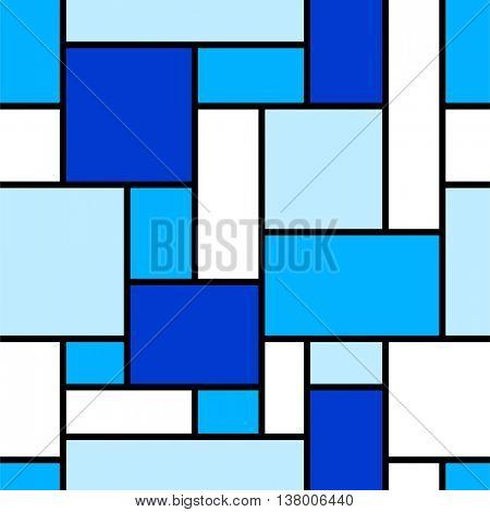 Seamless blue geometric pattern.