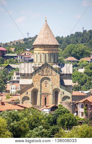 View to Svetitskhoveli from the opposite side of river.
