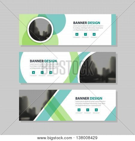 Eco green abstract circle corporate business banner template horizontal advertising business banner layout template flat design set clean abstract cover header background for website design