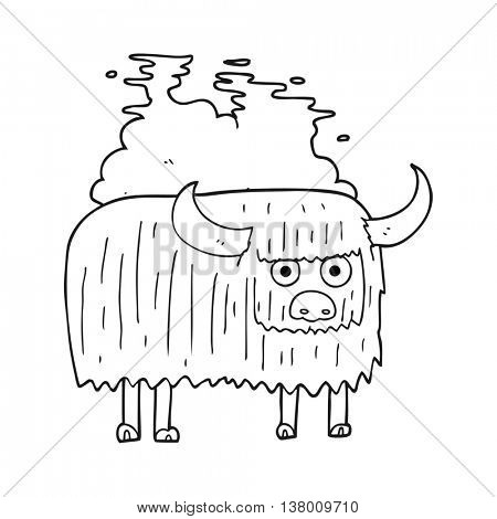 freehand drawn black and white cartoon smelly cow