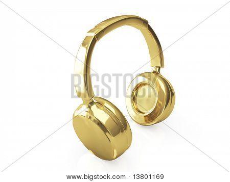 Golden headphones 3d isolated on white background
