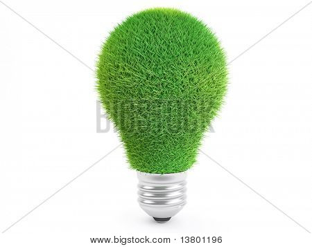 Isolated Grass Lightbulb isolated on white background, ecology concept