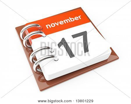 3d close-up calendar with bended page isolated on White Background