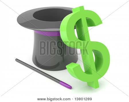 3d magic hat with dollar isolated on the white background