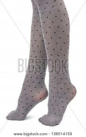 tights on legs girls isolated on white background