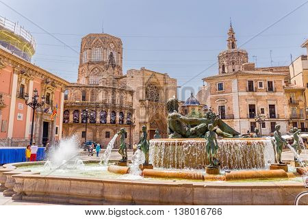 Valencia -june 24: Part Of The Cathedral Of Valencia, On June 24 2016 In Valencia, Spain.  The Cathe