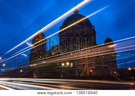Evangelical Cathedral Facade in Berlin at night