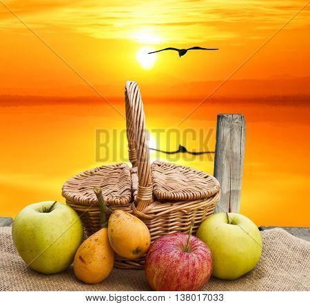 basquet fruits in the lake