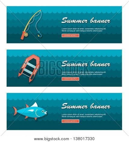 Travel and vacation vector banners. Summertime. Holiday eps 10